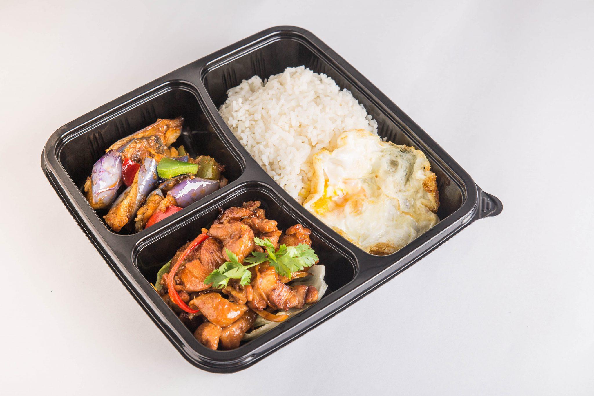 bento set, white rice, chicken, vegetable, egg