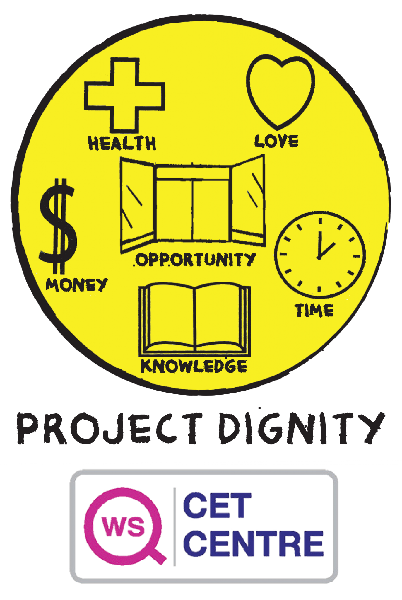 yellow logo with cet centre certification old project dignity logo
