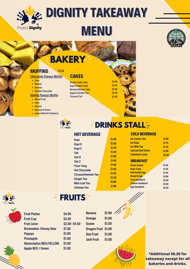 TAKEAWAY MENU - bakery, drinks, fruits