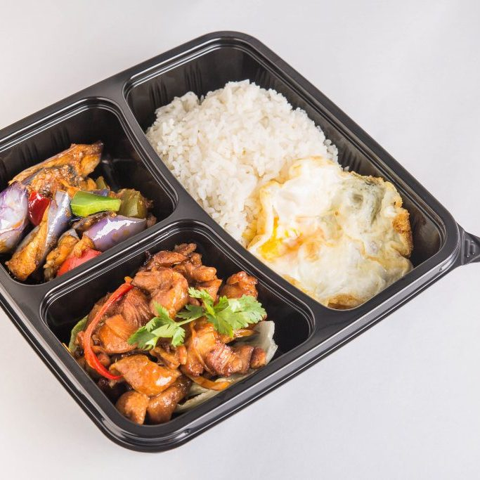 bento set, white rice, chicken, vegetable, egg